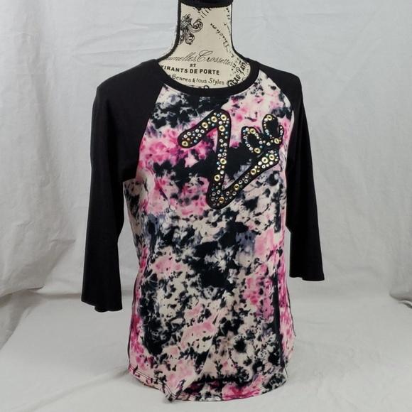 Zac Posen for Target Tops - Zac Posen Raglan TShirt/Pink/Black/ Size: Large